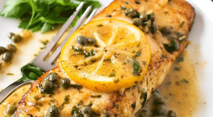 11. Pan-seared Halibut with Lemon Caper Sauce